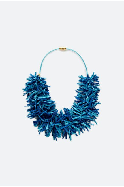 Alexandra Tsoukala Pleated Fringe Necklace