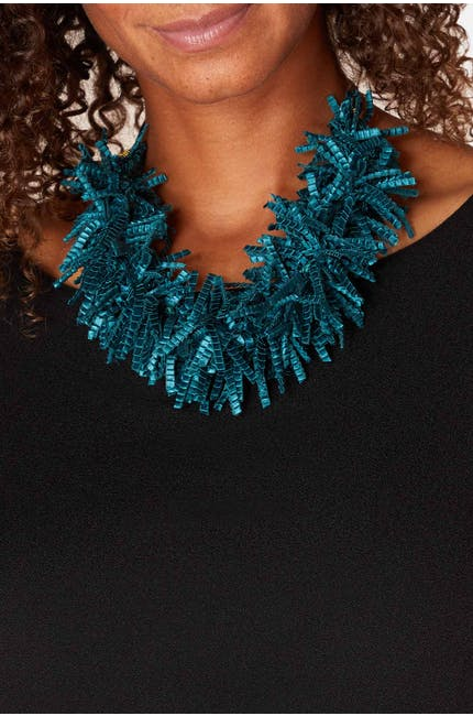 Pleated Fringe Necklace