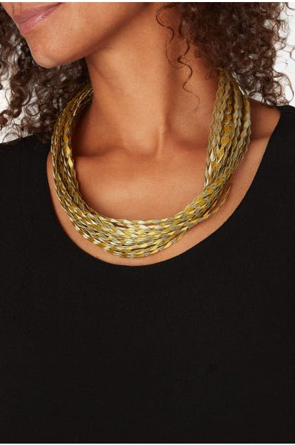 Woven Pleated Necklace