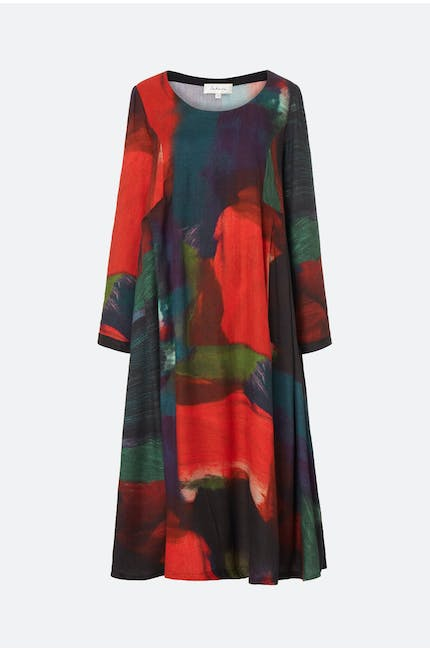 Painterly Block Print Dress
