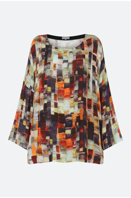 Painterly Print Woven Top