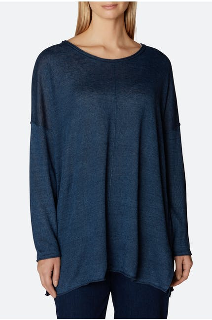 Crew Neck Linen Knit Top