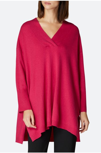 Oversized V Neck Knit Tunic