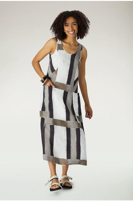 Grid Check Sleeveless Dress
