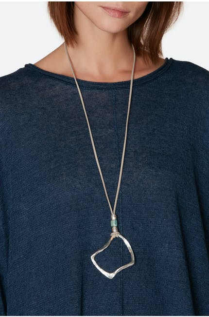 Silver, Green Crushed Square Necklace