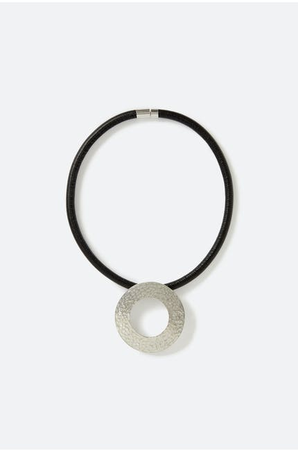 Crushed Silver Ring Necklace