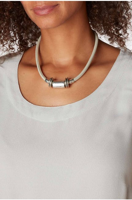 Cylinder And Disc Necklace