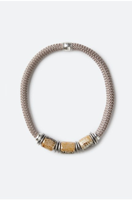 Triple Marble Bead Necklace