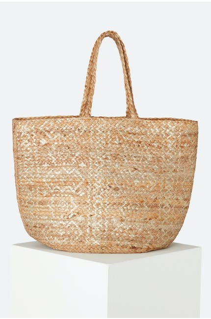 Tan, Silver Metallic Detail Basket Bag