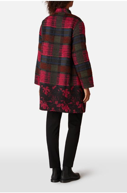 Floral Check Jacquard Coat