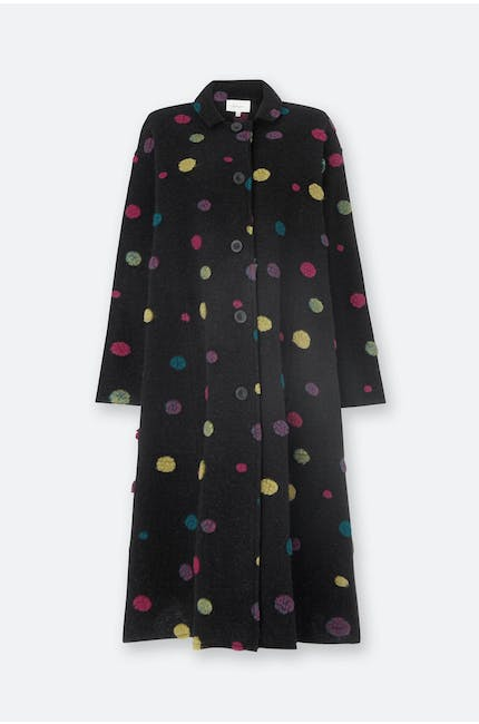 Fuzzy Dot Wool Coat