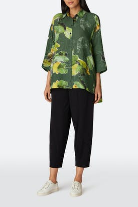 Photo of Leaf Print Flared Shirt