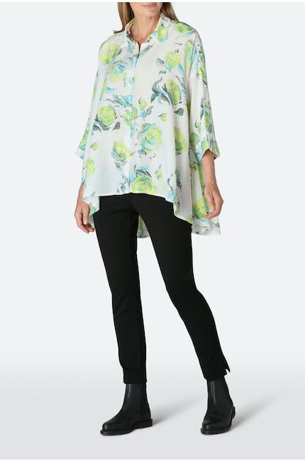 Rose Print Bamboo Silk Shirt