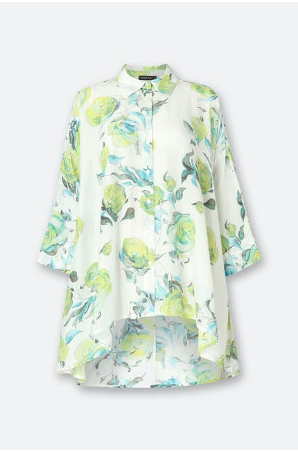 Photo of Rose Print Bamboo Silk Shirt