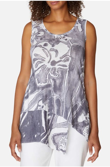 Photo of Two Tone Floral Linen Vest
