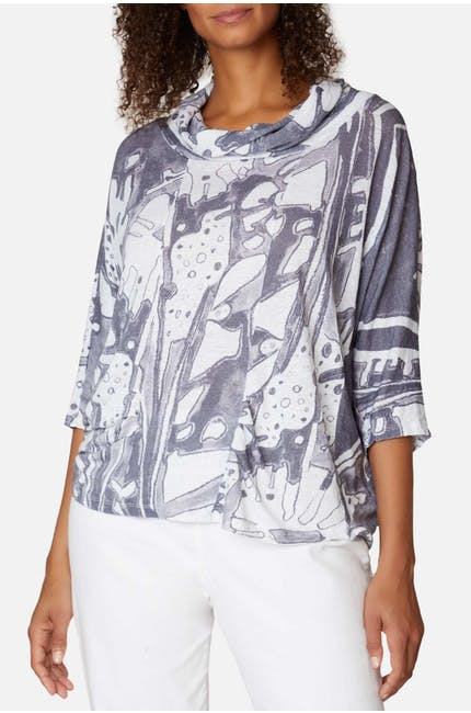 Two Tone Floral Linen Cowl Top