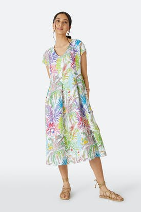 Photo of Chalk Jungle Linen Dress