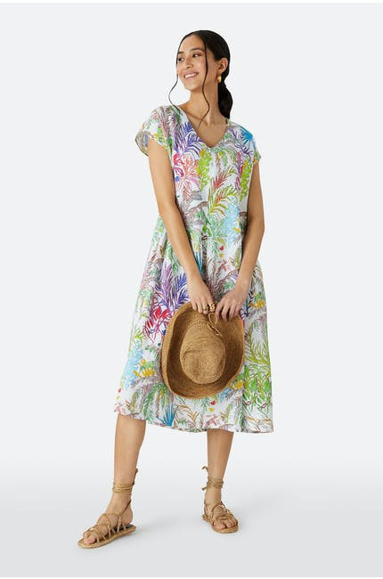 Chalk Jungle Linen Dress