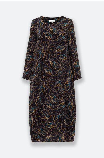 Peacock Feather Silk Dress