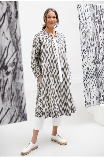 Photo of Patched Ikat Flare Shirt Dress