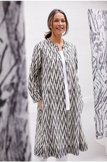 Patched Ikat Flare Shirt Dress