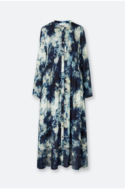 Night Sky Print Pintuck Dress