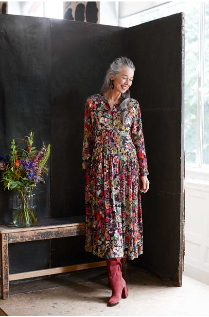 Photo of Painterly Floral Pleated Dress
