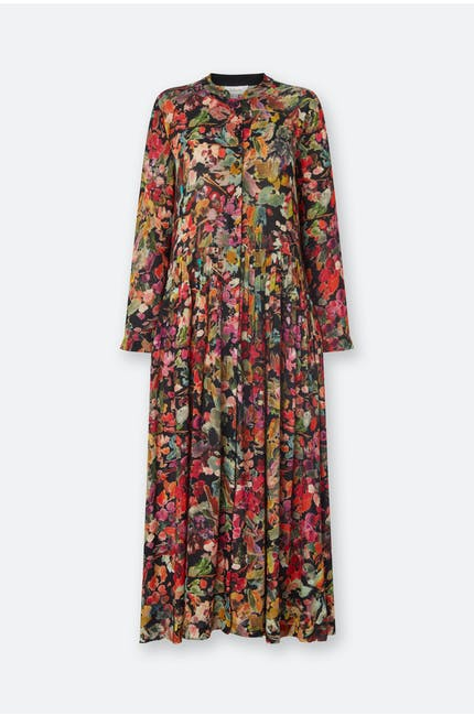 Painterly Floral Pleated Dress