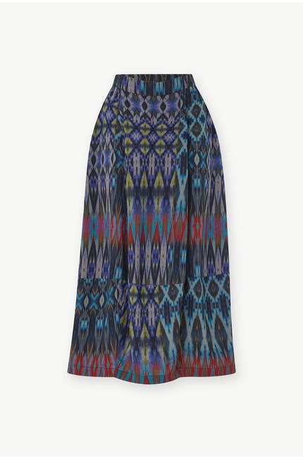 Patched Ikat Print Skirt