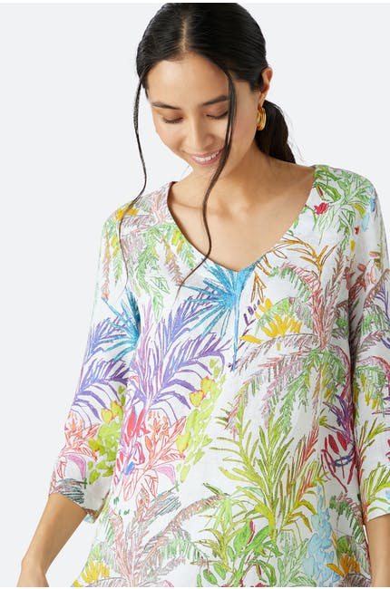 Chalk Jungle Linen Tunic