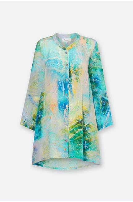 Marble Print Flared Shirt