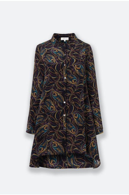 Peacock Feather Silk Shirt