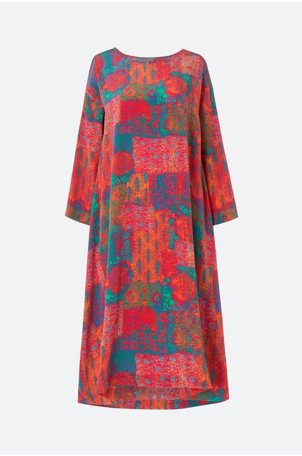 Geo Woodblock Silk Tunic