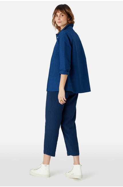 Pintuck Cotton Boxy Shirt