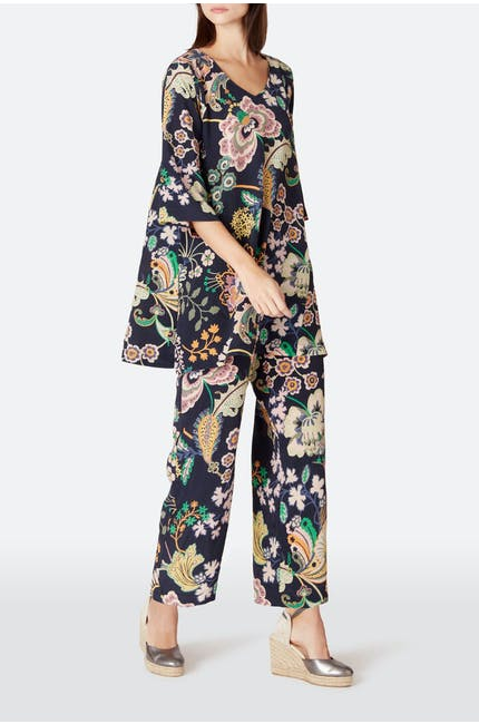 Floral Symphony Silk Tunic