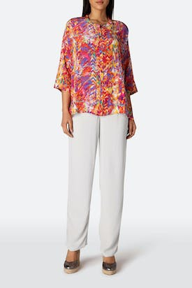 Photo of Summertime Texture Print Silk Shirt