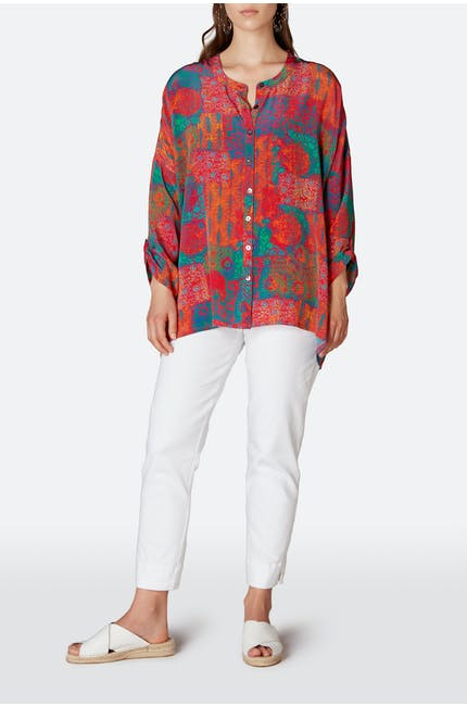 Geo Woodblock Silk Shirt