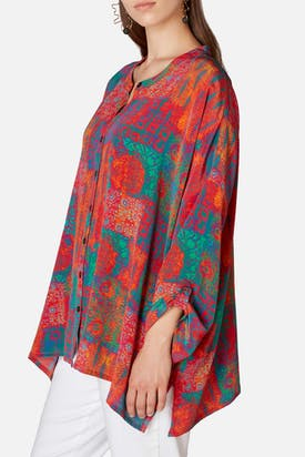 Photo of Geo Woodblock Silk Shirt