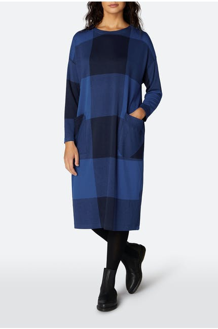 Large Check Jersey Boxy Dress
