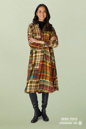 Photo of Patched Check Shirt Dress