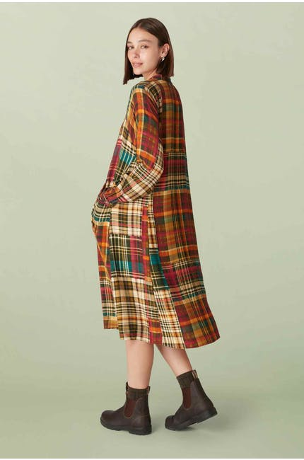 Patched Check Shirt Dress