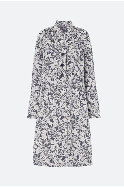 Palm Print Jacquard Coat