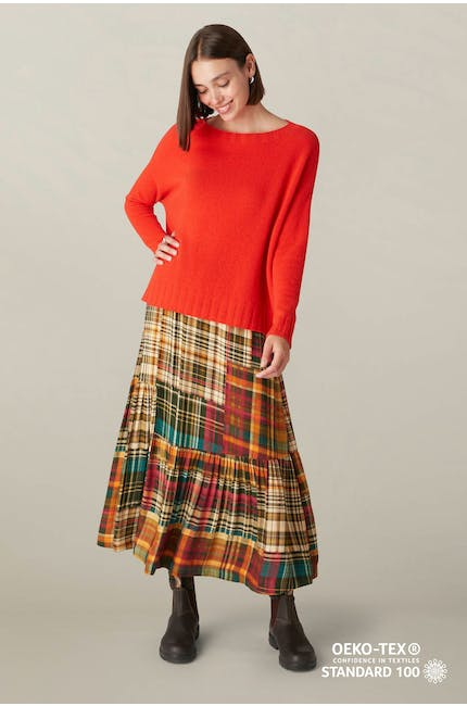 Photo of Patched Check Flared Skirt