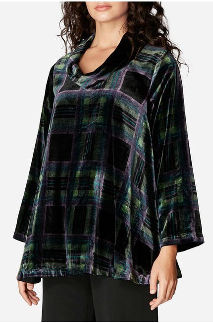 Photo of Tartan Velvet Cowl Top