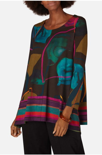 Abstract Petal Print Tunic
