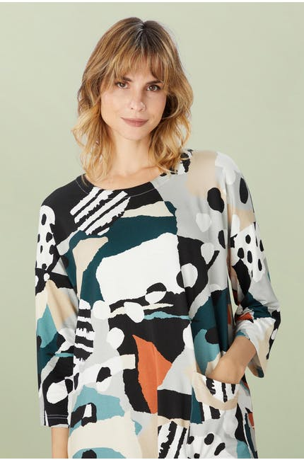 Abstract Jersey Print Tunic