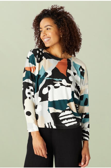 Abstract Jersey Print Easy Top