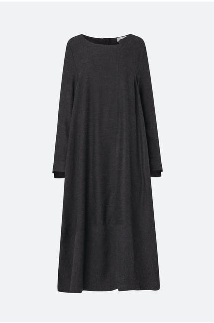 Viscose Twill Step Neck Dress