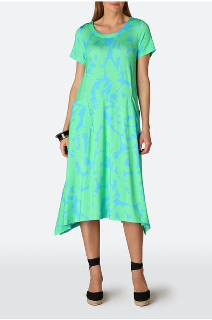 Abstract Flower Jersey Dress