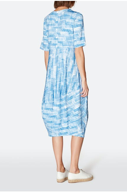 Sky Stripe Print Jersey Dress